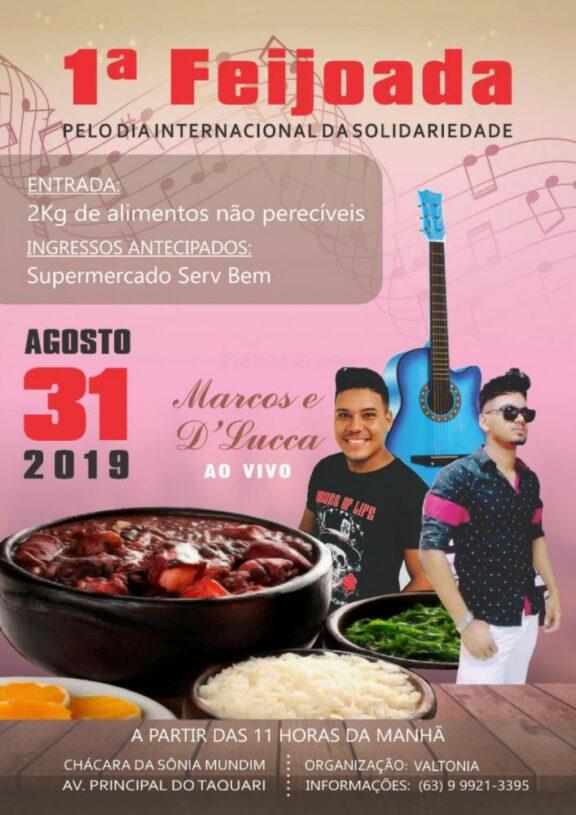 1ª Feijoada pelo Dia Internacional da Solidariedade será realizada neste sábado (31) no Setor Taquarí, em Palmas; confira