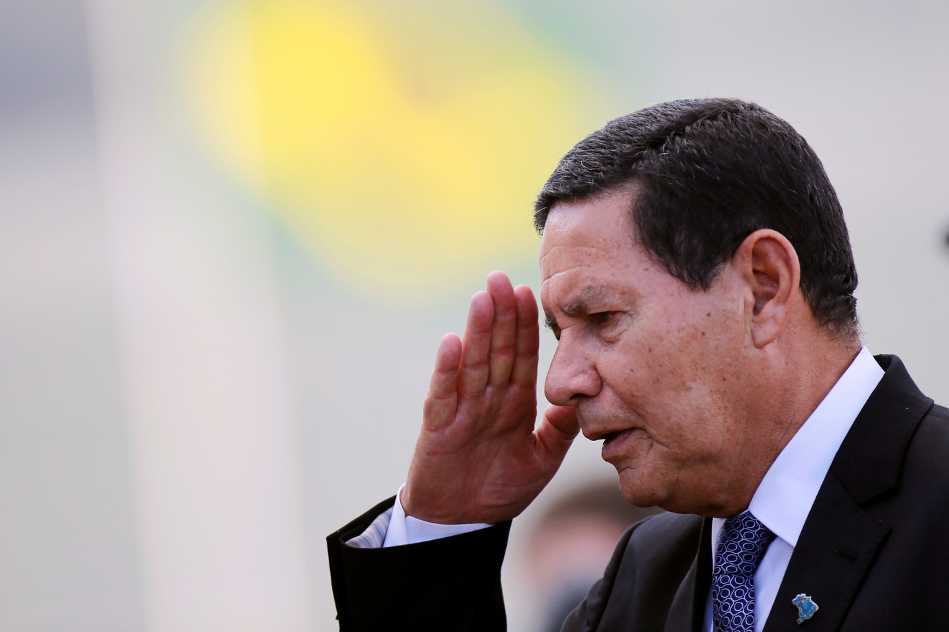 Brazil's Vice President Hamilton Mourao gestures during a ceremony outside the Planalto Palace in Brasilia